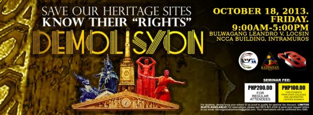 Logo ng DEMOLISYON at mga smahang nagsama-sama upang maisakatuparan ito.