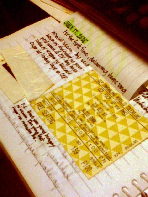 Mahilig akong mag-attach ng mga bagay na nakuha ko sa diary. At eto ang nakalagay para sa July 17, 2005.
