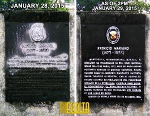 Ang ginawang pagsasaayos ng NHCP sa marker ni Ginoong Mariano.