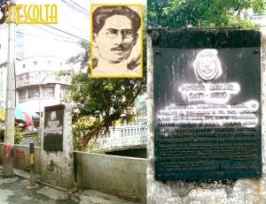 Ang marker ng bayaning si Patricio Mariano sa panulukan ng Callejon Banquero at Calle Escolta, bago ito muling ipinaayos.