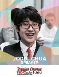 """Joddi Chua is a H4 student in Xavier School. He is currently a class president and a student leader. He has been a class officer since his Freshman year; being the treasurer during his 1st and 2nd years, and the class president from H3 up to this day. He has an interest in many different things, such as """"Peanuts"""" and paper folding, both of which highlight his passion for art. (Text from TEDxXavierSchool page)"""