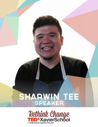 """Sharwin Tee is the host of his TV show, Lifestyle Network's """"Curiosity Got the Chef."""" He considers this his primary profession and vocation, meeting and striving to exceed his clients' needs and requests such as providing recipes with specific dietary restrictions. (Text from TEDxXavierSchool page)"""