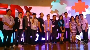 Photos with fellow speakers, hosts (Jun Sabayton, standing on extreme left and Bea Benedicto, standing 2nd from right), XS high school principal Aimee Apolinario, MA (3rd from right) and TEDxXS 2016 overall committee head John William Alonzo (extreme right)